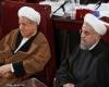 حرف های در گوشی روحانی و هاشمی در مجلس خبرگان+عکس